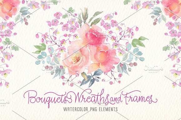 Watercolor Bouquets Wreaths Frames