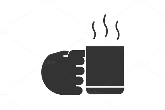 Hand Holding Cup With Hot Drink Glyph Icon