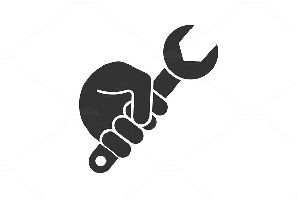 Hand Holding Wrench Glyph Icon