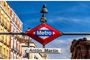 The Madrid Metro sign at the entrance to Anton Martin station