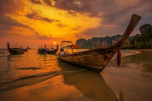 Sunset over Railay Beach at Krabi, Thailand