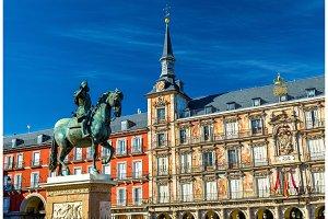 Statue of Philip III on Plaza Mayor in Madrid, Spain