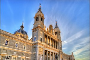 View of the Almudena Cathedral in Madrid, Spain