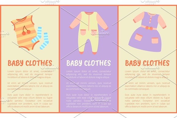 Baby Clothes And Text Sample Vector Illustration