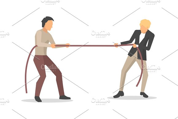 Closeup Of Men Competition Vector Illustration