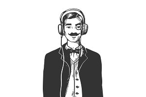 Gentleman with headphones engraving vector