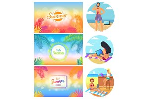 Hello Summer Party 2017 Set Vector Illustration