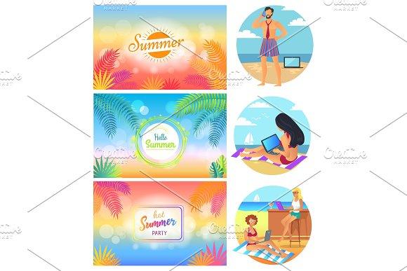 Hello Summer Party 2017 Set Vector Illustration