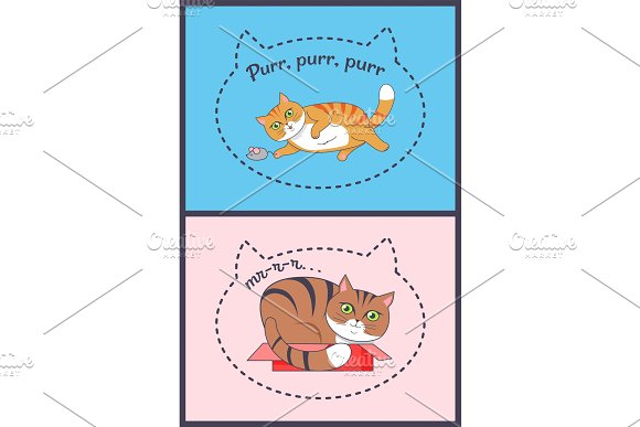 Two Posters With Nice Cats Vector Illustration