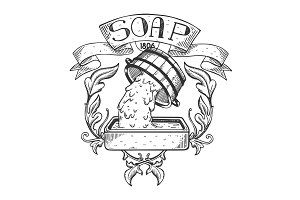 Soap maker vintage emblem engraving vector