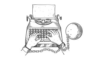Hands chained to typewriter engraving vector