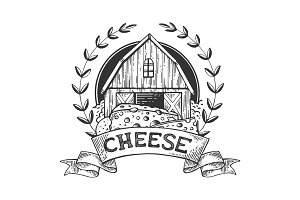 Cheese maker vintage emblem engraving vector