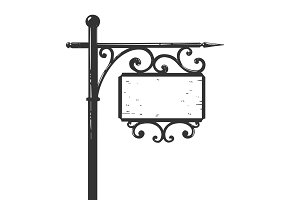 Old urban road signpost engraving vector