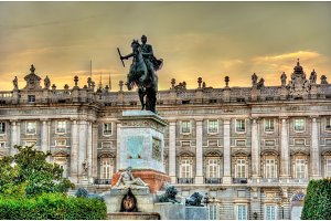 Monument to Philip IV in front of the Royal Palace - Madrid, Spain