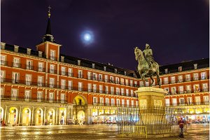Statue of Philip III on Plaza Mayor in Madrid, Spain