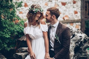 Awesome wedding couple smiling