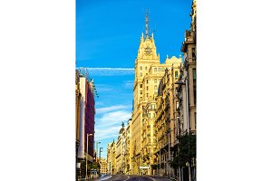Telefonica Building in Gran Via street - Madrid, Spain
