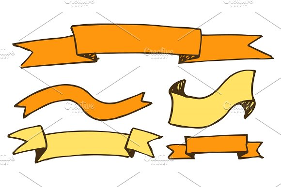 Banners And Ribbons Hand Drawn Vector Illustration