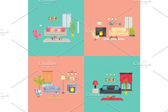 Interior Of House Collection Vector Illustration