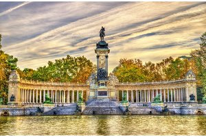 The Monument to King Alfonso XII in Buen Retiro Park - Madrid, Spain