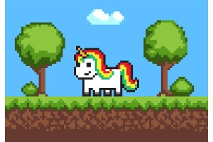Cheerful Pixel Poney Horse on Cute Green Meadow