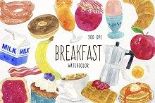 Watercolor Breakfast Clipart