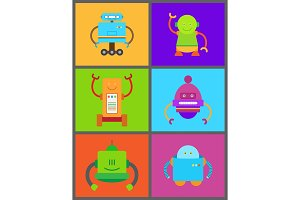 Robots and Frames Collection Vector Illustration