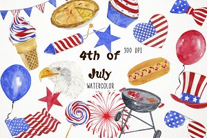 Watercolor 4th July Clipart
