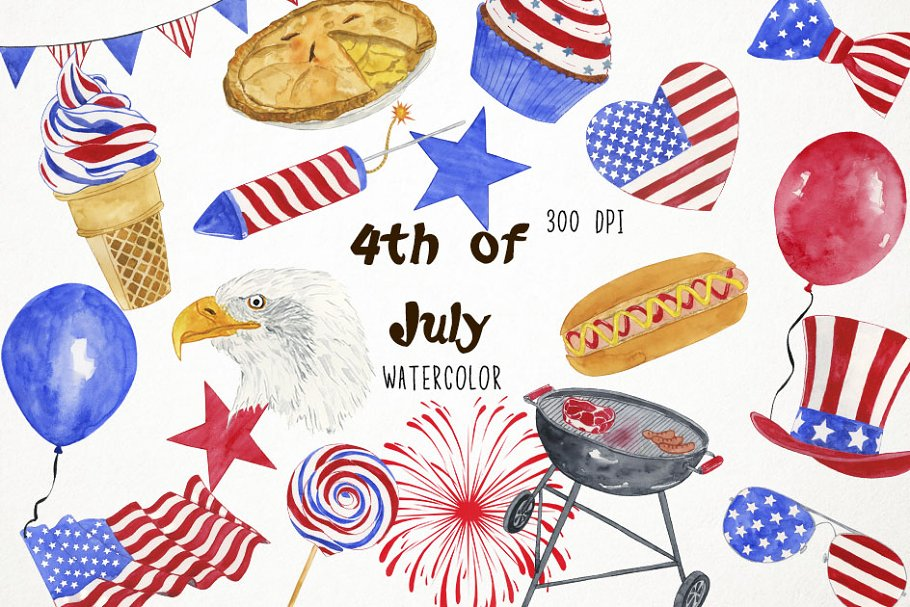 4th of july watercolor. Th clipart illustrations creative