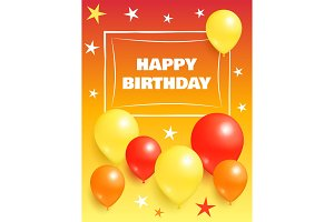 Happy Birthday Background Invitation Card Balloons