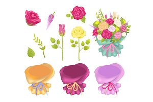 Set of Flowers and Wrapping Vector Illustration