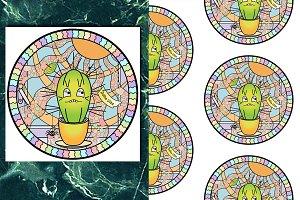Cactus Print+Seamless Pattern