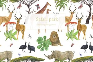 Safari park - watercolor patterns