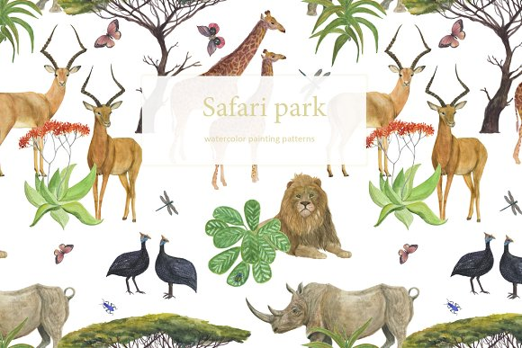 Safari Park Watercolor Patterns
