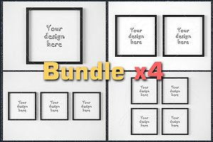 BUNDLEx4 square black frame mockup