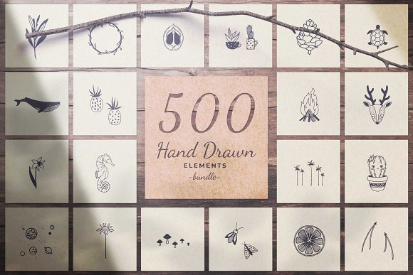 500 Hand Drawn Elements Bundle-