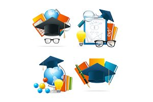 Realistic 3d Education Set. Vector