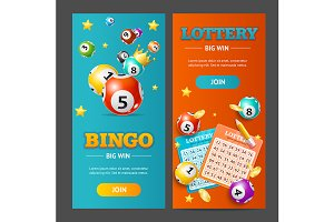 Realistic Lotto Banner Set.