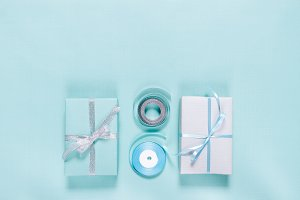 Gift boxes and ribbons