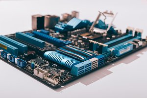 Motherboard on white table close-up