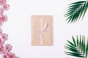 Book in wrapping paper with ribbon