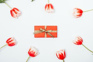 Red gift box with a gold ribbon