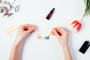 Woman testing cosmetics