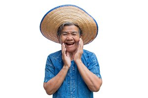 Happy old Asian woman farmer