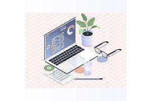Software development and programming.Programmer coding binary computer isometric vector flat illustration