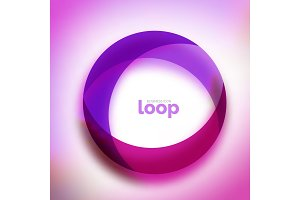 Loop circle business icon, created with glass transparent color shapes