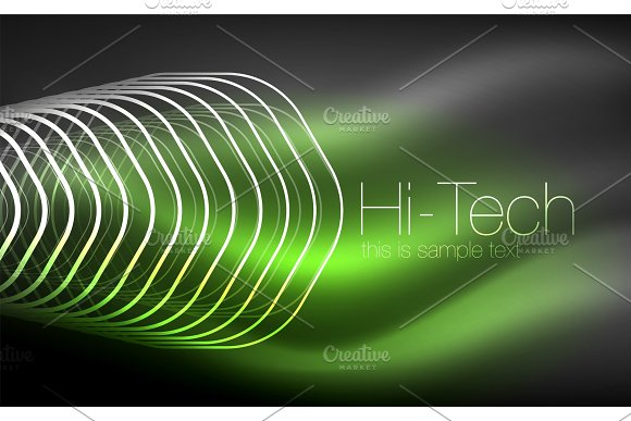 Outline Hexagons Glowing Geometric Shapes Digital Techno Abstract Background