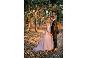 newlyweds walking in the woods at sunset