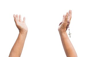 hands woman praying on white