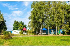 Typical rural houses in Kursk region, Russia